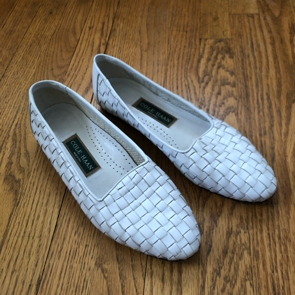 cfc91f91552b1 Woven leather cole Haan white loafers flats